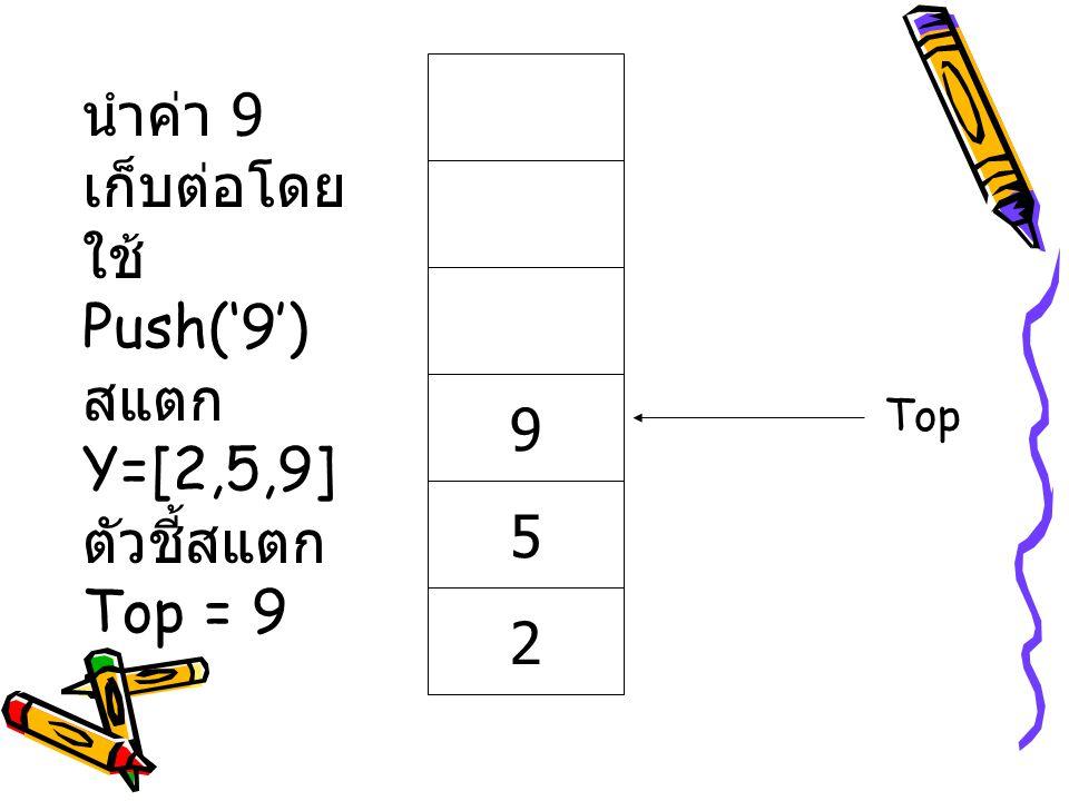 นำค่า 9 เก็บต่อโดยใช้ Push('9') สแตก Y=[2,5,9] ตัวชี้สแตก Top = 9